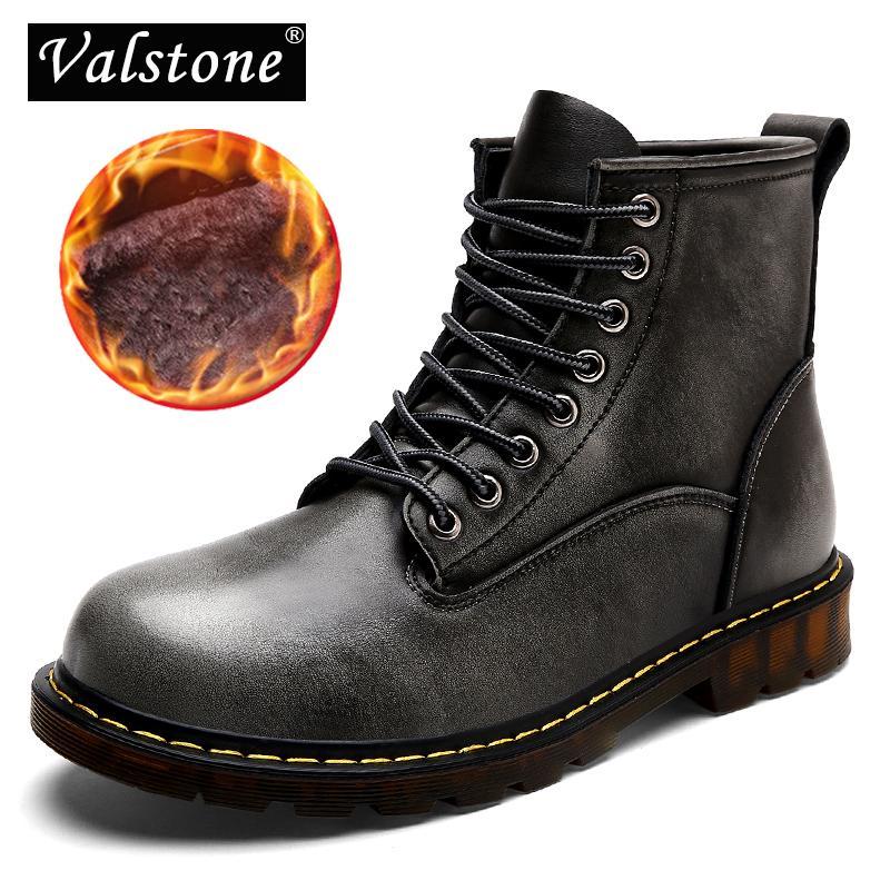 Großhandel Valstone Qualität Leder Martin Stiefel Herren Winter 2018 Hoch  Oben Cargo Schuhe Warm Vintage Stilvolle Turnschuhe Plus Größe 47 Grau  Farbe Von ... 0df4c456e3