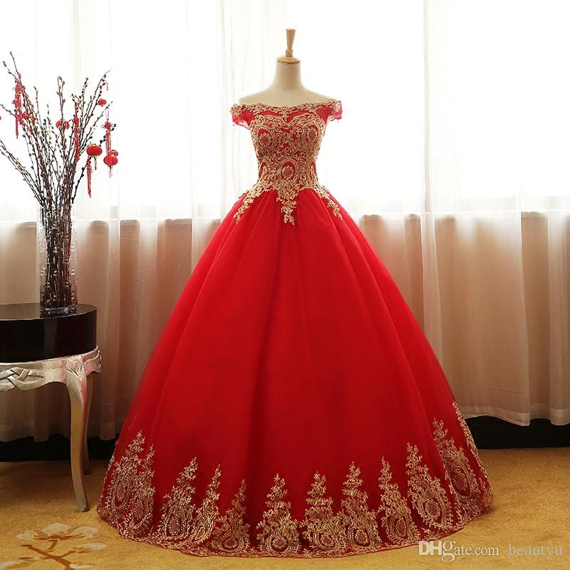 c8d252a8f1ff2 2018 Red Gold Lace Quinceanera Dresses Plus Size Off Shoulder Corset Back  Tulle Sweet 16 Party Evening Ball Gown Prom Dress Custom Made Reception  Dresses ...