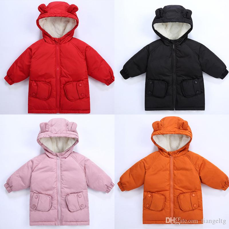 926b087e9 Winter Kids Hooded Down Coats Solid Thicken Inside White Soft Fur Buckle  Pocket Ears Hats Zipper Clothes Polyester Filling 96% Cotton Coats Light  Down ...