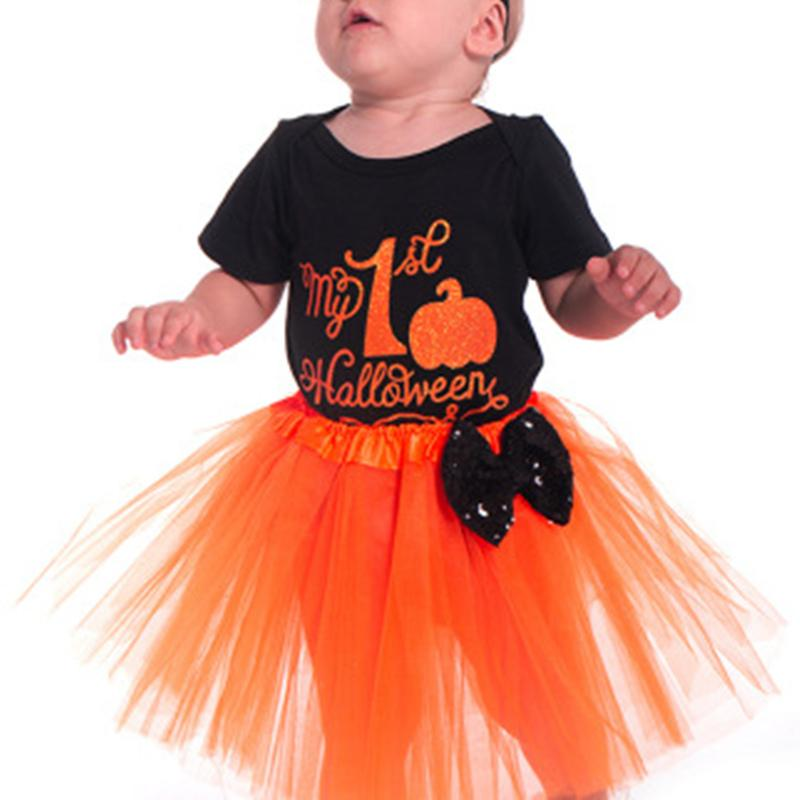 Babys First Halloween Costume Girl.Baby Girl Halloween Costume Sets Two Piece Bodysuit Pumpkin My First Halloween Short Sleeve Black Skirt Baby Girl Bows