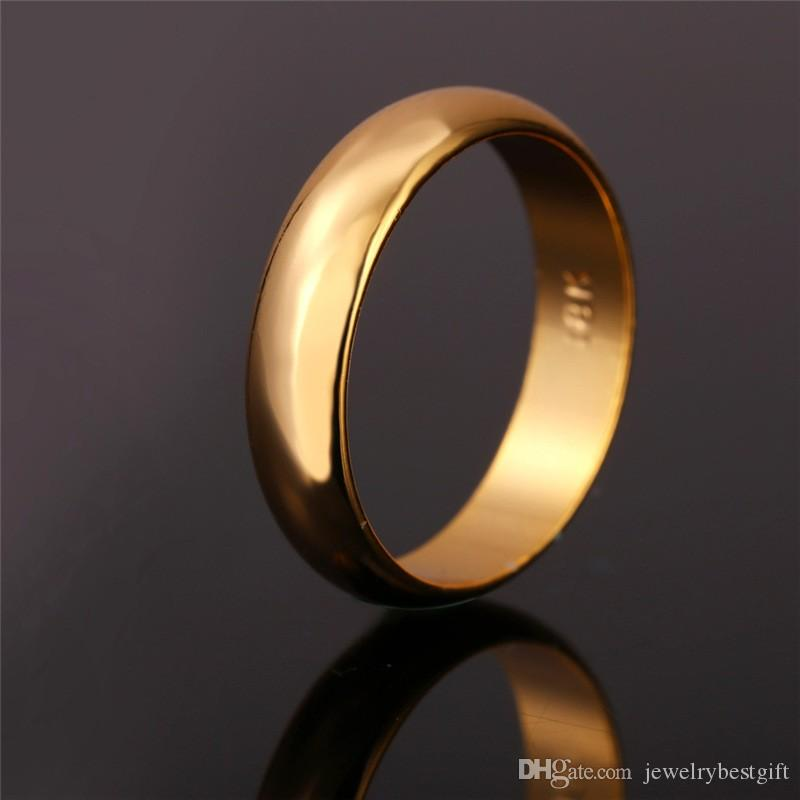 0a21e558520 Wholesale Wedding Ring 2018 Gold Rings With 18K Stamp Quality Real Gold  Plated Women Men Jewelry Classic Wedding Band Rings Loose Diamonds Silver  Rings From ...