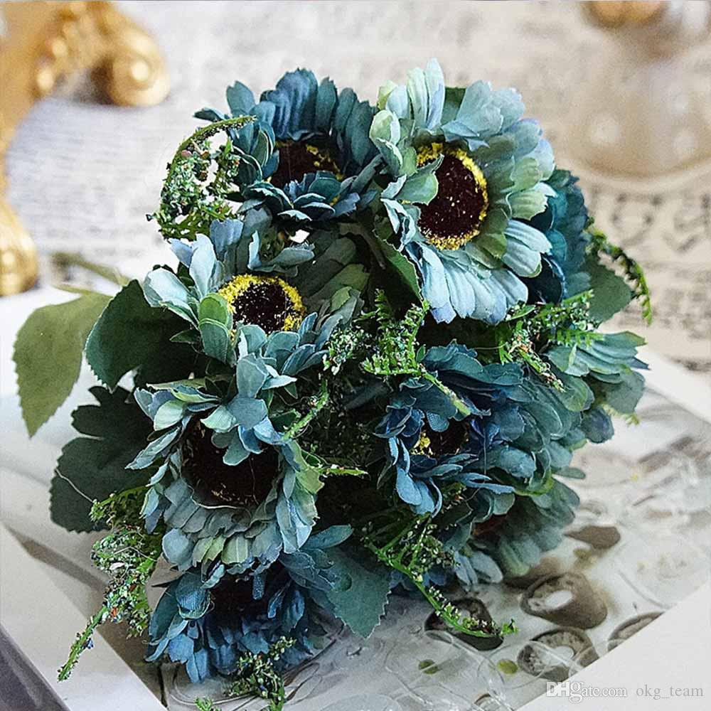 10 heads/1 bundle Painting Victoria Silk Chrysanthemum European Artificial Flowers Home Garden Wedding Christmas Accessories