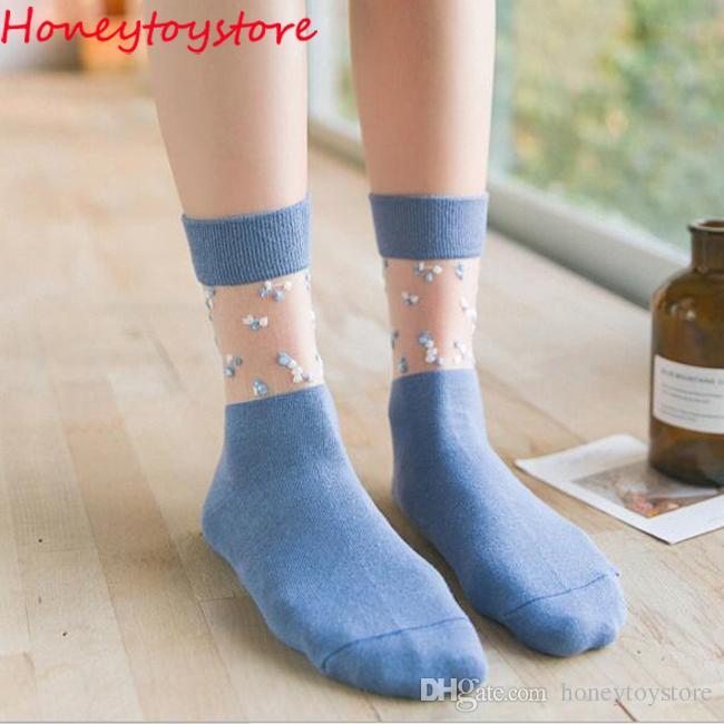 Summer Ultrathin Socks Transparent Crystal Silk Lace Elastic Short ... 8a1bf8862ae9