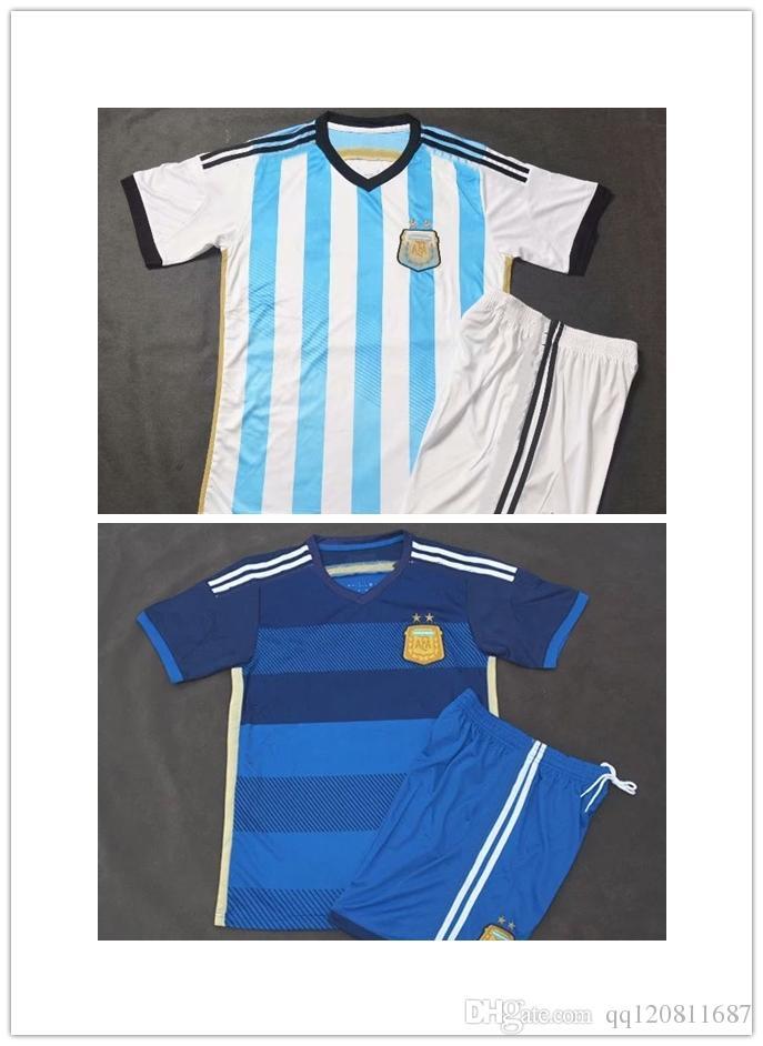 Compre 2014 15 Argentina Camisa MESSI Azul CASA Argentina DIMARIA HIGUAIN  AGUERO Camisa De Futebol AWAY Mascherano Uniforme De Futebol De  Qq120811687 3f681ef8f461d