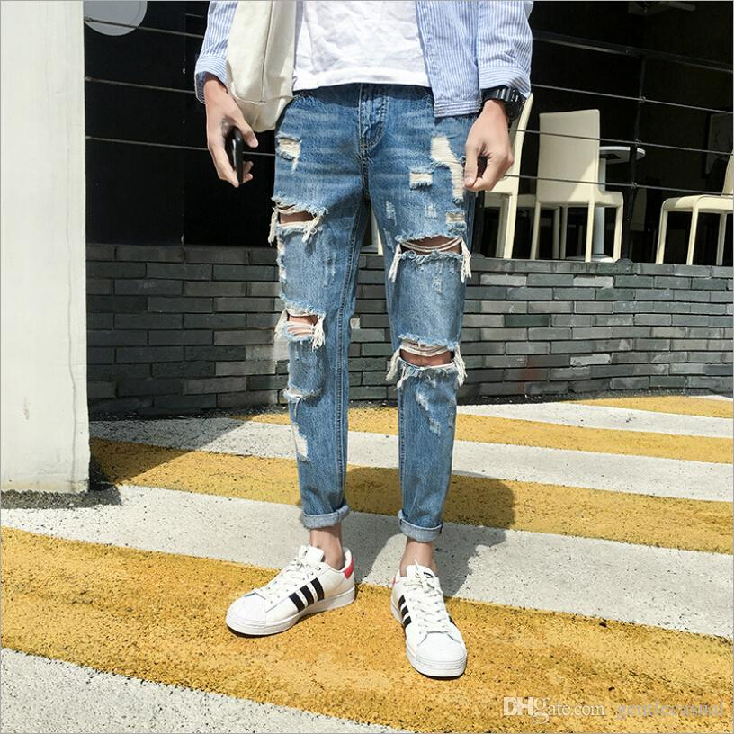 b66c575ddf2 2019 Light Blue Washed Jeans Mens Ripped Distressed Zipper Capris Pants  Stretch Denim Pants Skinny Korean Style Jeans Pants From Gentlecasual