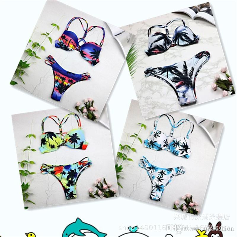Summer Sexy Bikini Women Swimsuit Coconut Trees Print Bikini Set Beach Bathing Suit Push Up Swimwear Low Waist Swim Wear