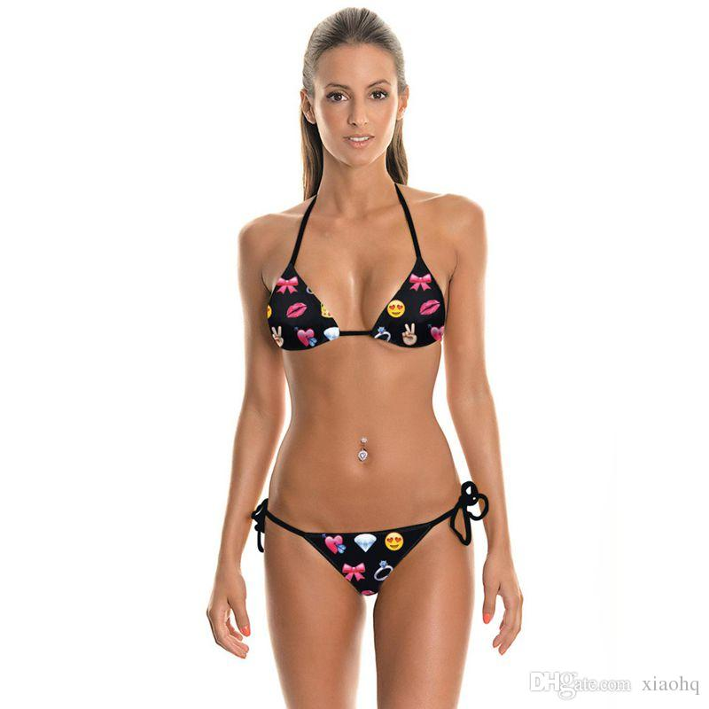 New Design Sexy Girl Summer Heart Bowknot 3D Prints Thongs Ropes Bikini Set Swimsuit Swimwear Women Bathing Suit Bikini Two-Piece Suits