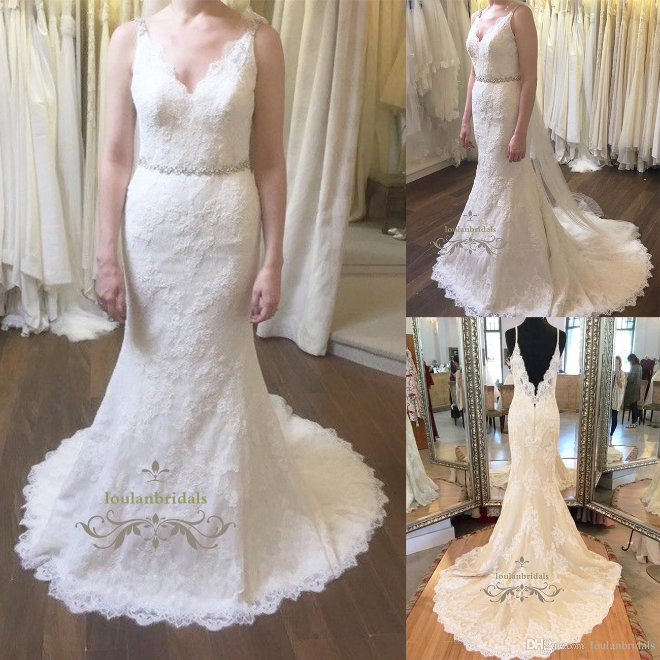 Beautiful Lace Wedding Gown Classic Lovely Beading Straps Unique