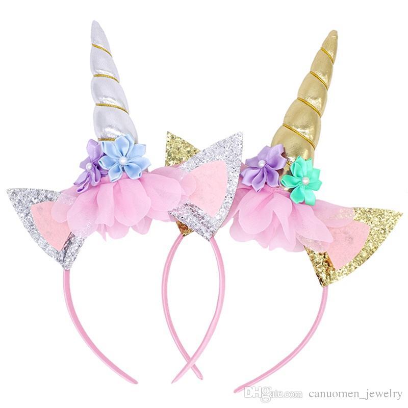 Rainbow Unicorn Horn Headband Kids Chiffon Gold Silver Unicorn Hairband  Glitter Hairband Christmas Gift For Party DIY Hair Accessoriess Buy Baby  Hair ... 48149e8f4f8f