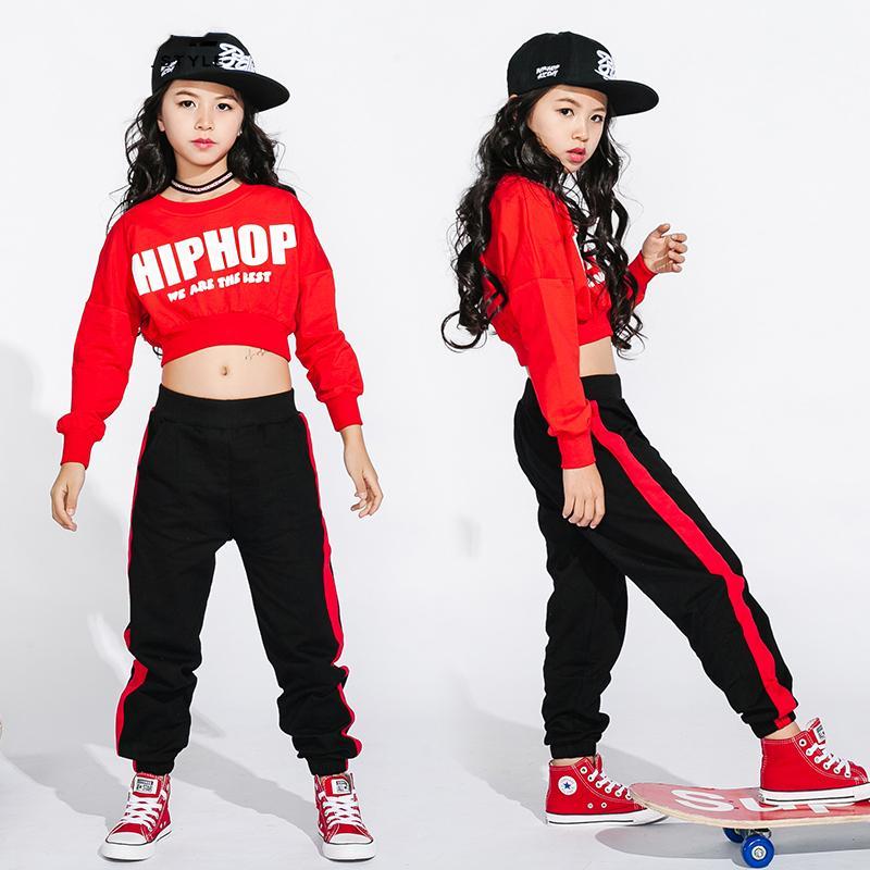 Compre Hip Hop Jazz Dance Costume Girls Street Danza Ropa Niños Rojo De  Manga Larga Tops Pantalones Negros Disfraces Contemporáneos DN1753 A  30.61  Del ... cd183e6d1c5