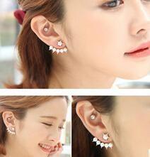 Er230 Moda coreana piccola fresca stella a cinque punte Cinque perle imitazione orecchini le donne