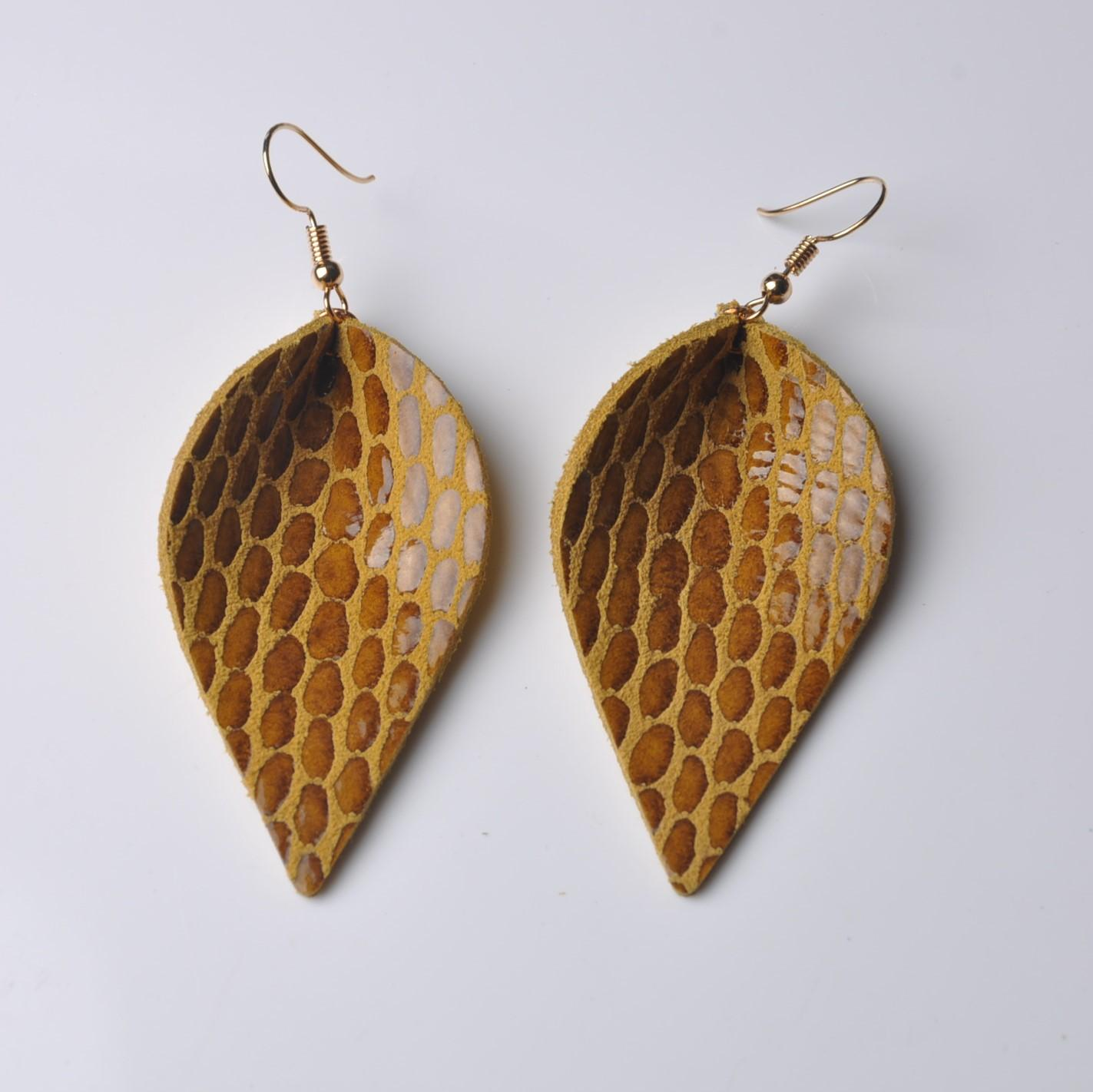 f0d2d1ab8 2019 New Design Fashion Real Leather Leaf Earrings Handmade Jewelry  Serpentine Leather Drop Earrings For Women Bijoux Wholesale From Brands88,  ...