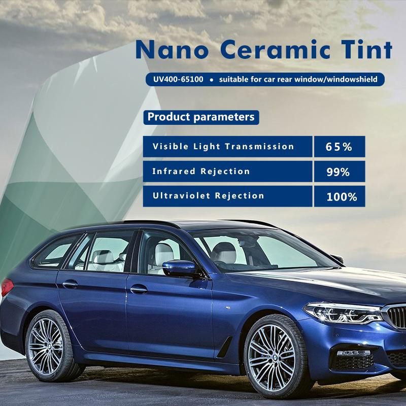 Vlt 65 Nano Ceramic Car Protection Light Blue Window Tint Solar Film Uv 100 For Car Windshield Front Rear Window 5x100feet