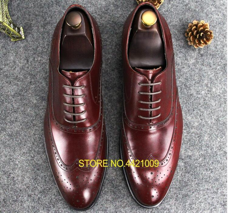 Wedding Dress Shoes Men Lace Up Genuine Leather Pointed Toes Carved Brogues  Formal Business Breathable Groom Low Heel Shoes Wedges Shoes White Shoes  From ... e9c0e575de69