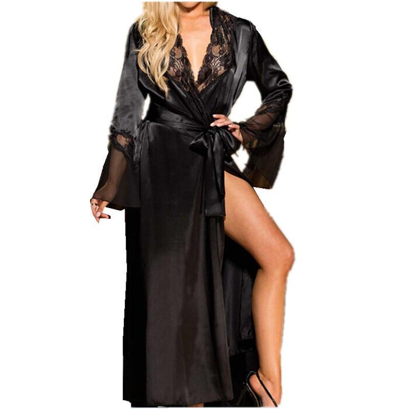 42b8308c9 Compre Mulheres Sexy Lace V Pescoço De Cetim De Seda Longo Da Noiva Do  Casamento Dama De Honra Robe Kimono Robe Feminino Banho Peignoir Femme  Roupão De ...
