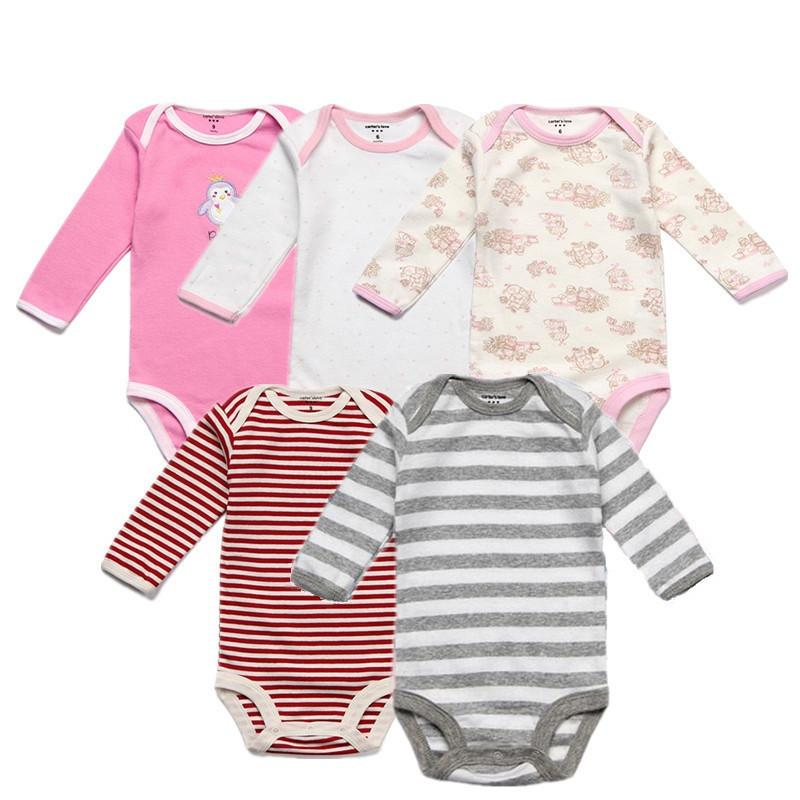 53a0e9ce08294 5PCS/Lot Spring Baby Boy Clothes Cotton Baby Rompers Autumn Long Sleeve  Baby Girl Clothes Overalls Infant Jumpsuits Roupas Bebe Y18102008