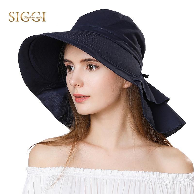 SIGGI Beach Sun Hats Women Ponytail Packable Foldable Wide Brim Chapeau  Female Girl Cotton Zonneklep Caps UPF50+ UV Gorras 69085 S18101708 Online  with ... aed2a56ee28