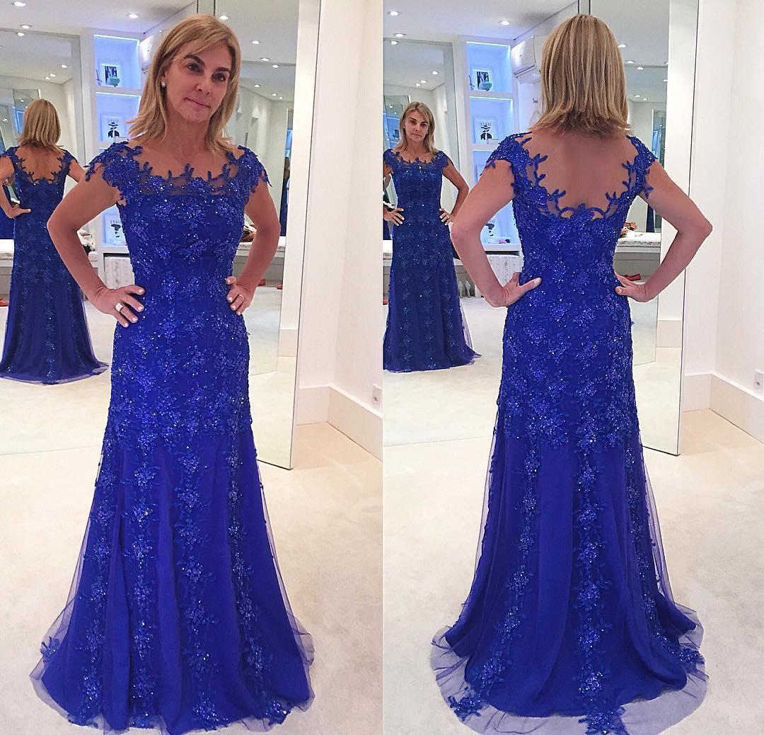 Elegantes vestidos de encaje azul real Vestidos largos de madre de la novia Sirena Formal Madrina Fiesta de bodas Invitados Vestido de talla grande por encargo
