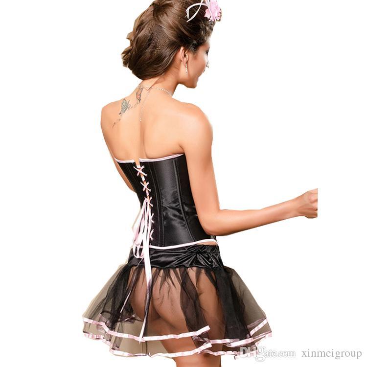 New Sexy Satin Lingerie Lace up Corset Bustier Mini Tutu Petticoat Skirt Fancy Dress Costume Dress S-XL W312178