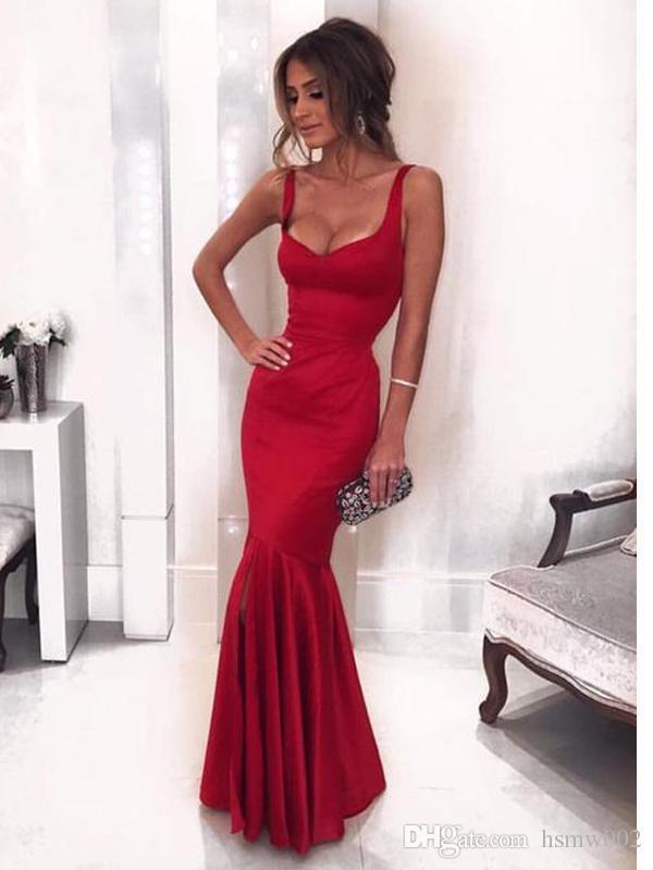 6b833be6c Compre Sexy Bajo Cuello Rojo Sirena Largo Personalizado Noche Baile Vestidos  Glamorous Lado Hendidura Piso Largo Baile Vestidos Formal Vestido Para  Fiesta ...