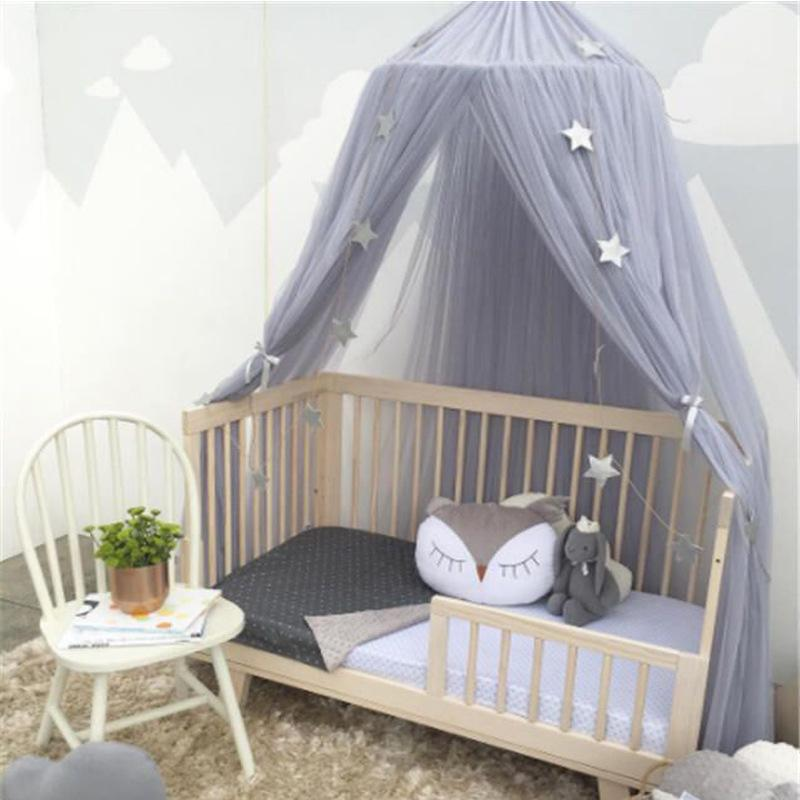 Round Baby Bed Mosquito Net Dome Hanging Cotton Bed Canopy Mosquito