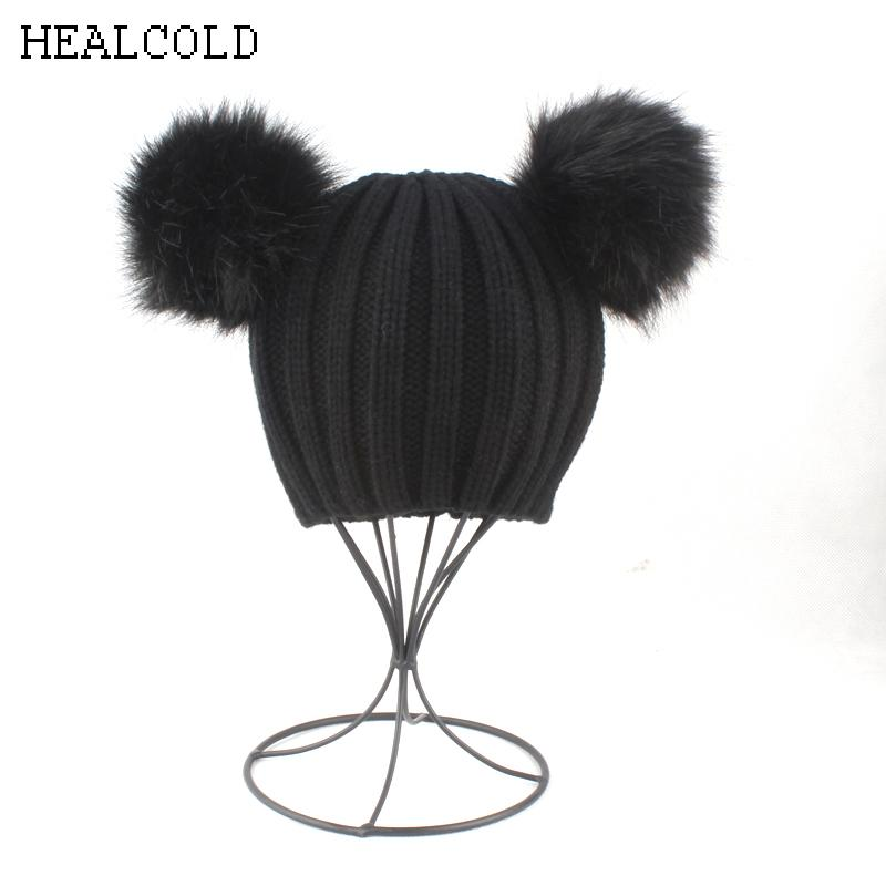 2019 Cute Black Hat For Girls Boys Faux Fur Hat Pom Pom Ball Beanie Hats  Kids Winter Cap 2018 From Alexandr b7c9f8c8178