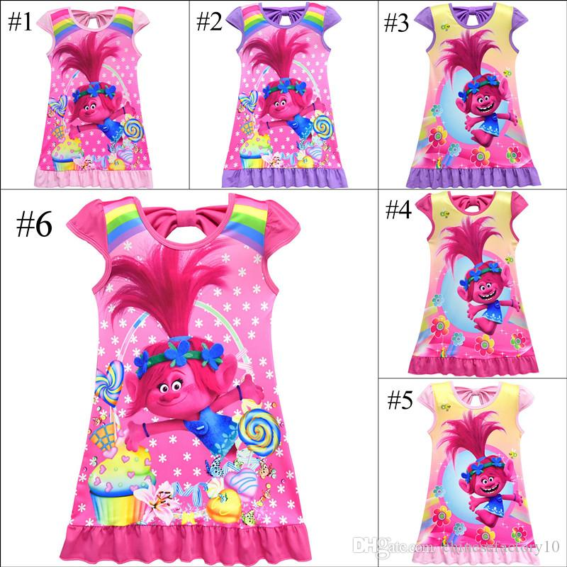 e4f4dc43e Girls Summer Trolls Pajamas Dress Kids Cotton Bowknot Short Sleeve Dress  Sleepwear Children Cartoon Summer Night Skirts 6 Colors