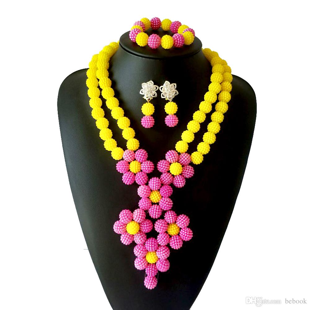 2 Rows Yellow Pink Imitation Pearls African Beads Necklace Earrings