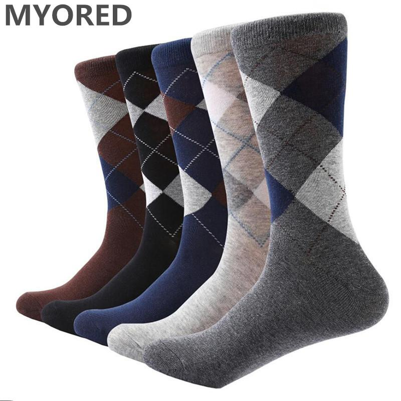 2018 Myored Men S Socks Solid Color Cotton Socks Argyle Pattern