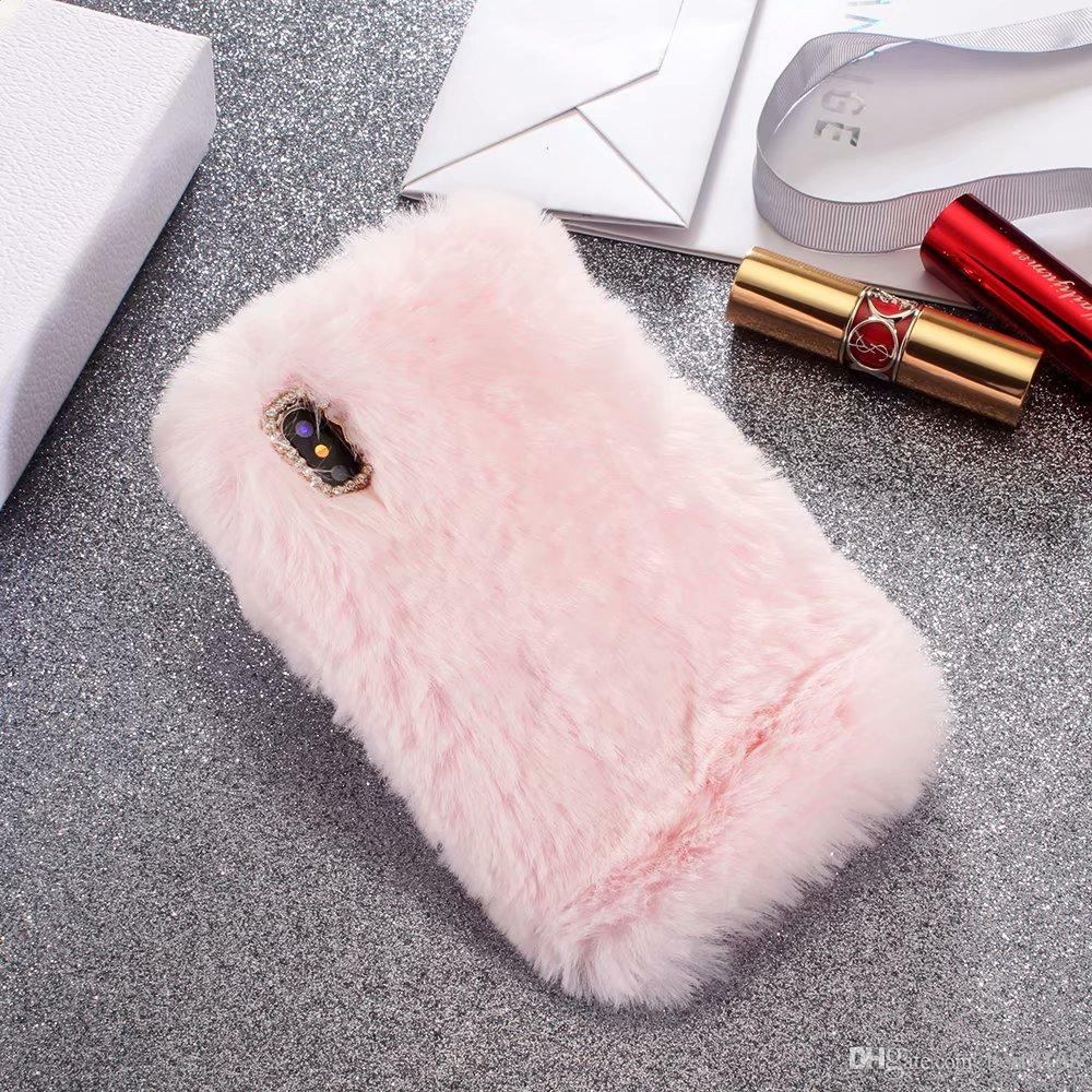 Genuine Rabbit Hair Case For iPhone XR XS Max X 10 8 Plus/6 6S/SE 5 5S/Galaxy Note 9 S9 S8 Bling Diamond Fluffy Fur Cover Girl Soft TPU Cute