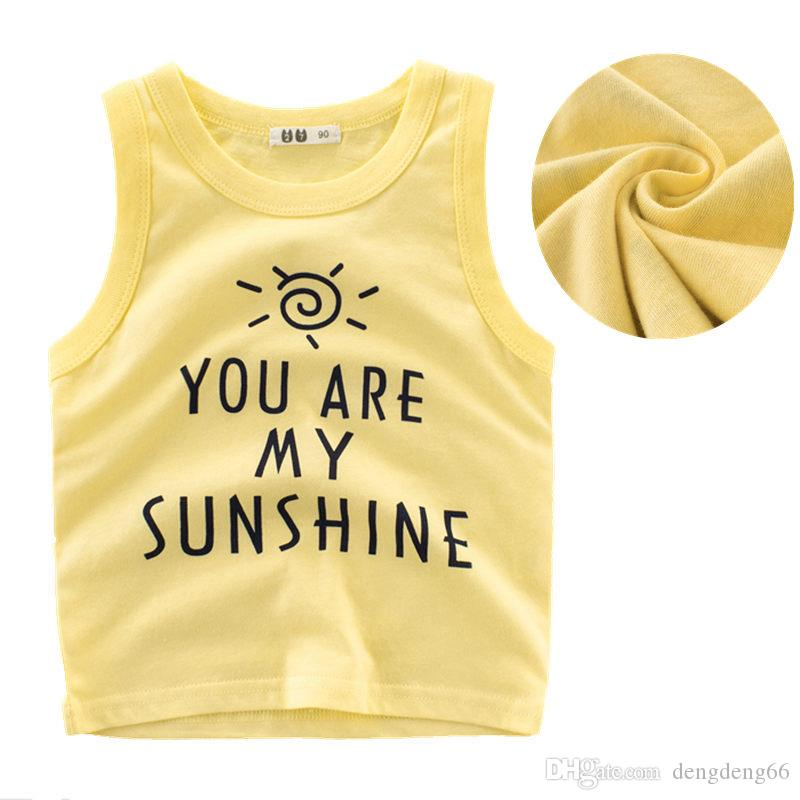 accaa5e1a438 2019 Letter Printed Kids Boys Casual Vest Tank Tops Pure Cotton Breathable  Sleeveless Tee Shirts Childrens Summer Round Neck Tops Vests From  Dengdeng66
