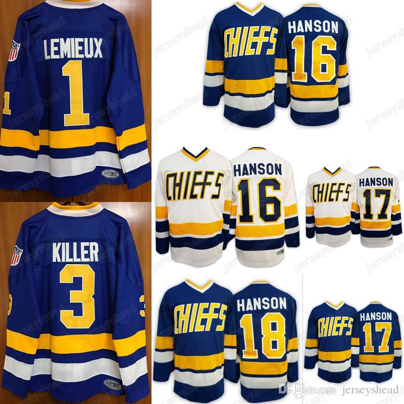 Ice Hockey Jerseys Hanson Brother 1  3  7  16  17  18  Charlestown ... 1b31cacb2