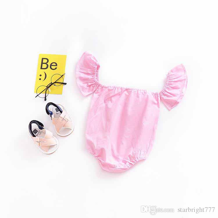 Girls Princess Romper New 2018 Summer Fly Sleeve Infant Bodysuit Cute Strapless Toddler Onesie Baby Jumpsuit