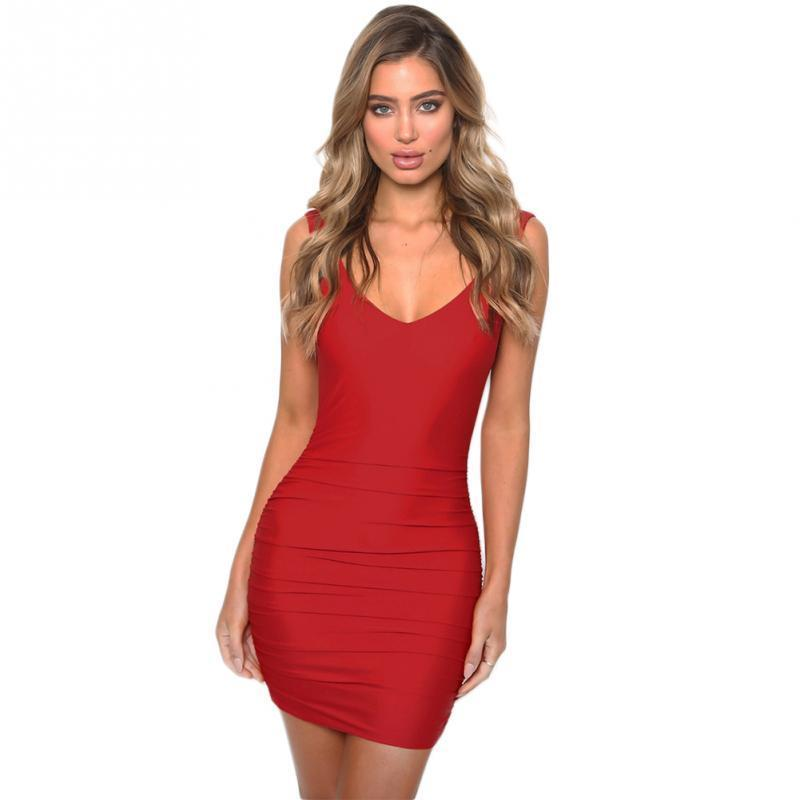98e253fcde4 2019 New Fashion Deep V Neck Women Summer Dresses Solid Party Clubwear Dress  Sexy Bodycon Strap Ladies Package Hip Dress Plus Size Dress Modest Dresses  From ...