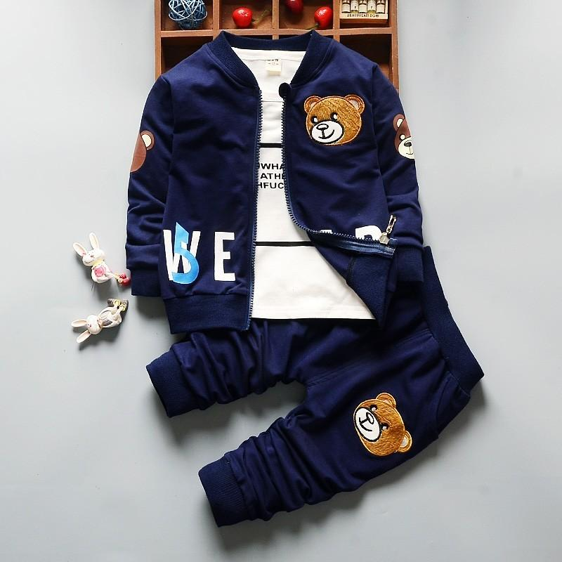 0-5 Years Children Clothing 3pcs Cartoon Bear New Autumn Toddler Boys Clothing Sets Outwear Coat+Shirt+Pants Kids Boy Suit Z124 Y1893005