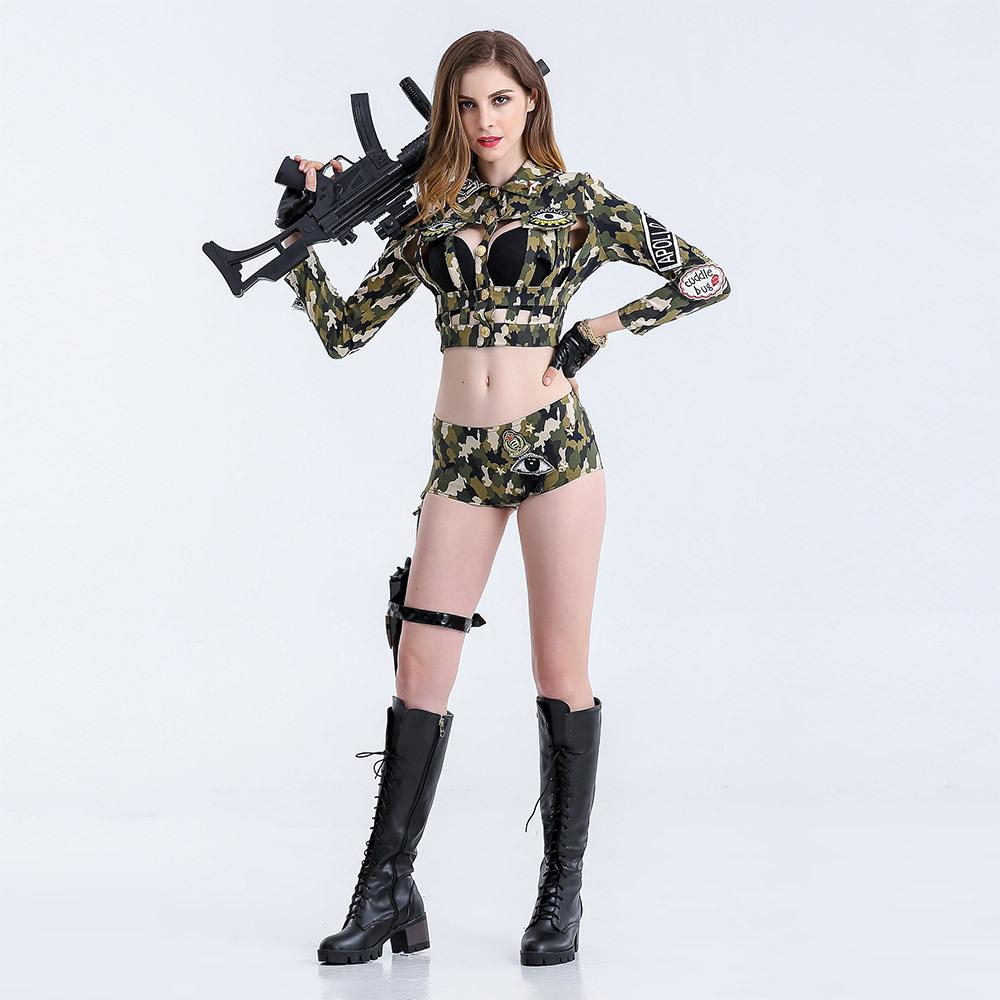 7fb4dfa74 2018 Sexy Nightclub Bar Party Camouflage Field Suit DS Costume Female  Officer Cosplay DJ Singer Costume Outfit Split Type 8501# Halloween Masks  Baby ...
