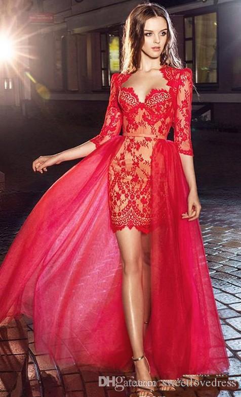2018 custom made Ile Pretty Kırmızı Aplike Dantel Sheer Abiye Kılıf İnce Yarım Kollu Kısa Kokteyl Balo Parti Elbise