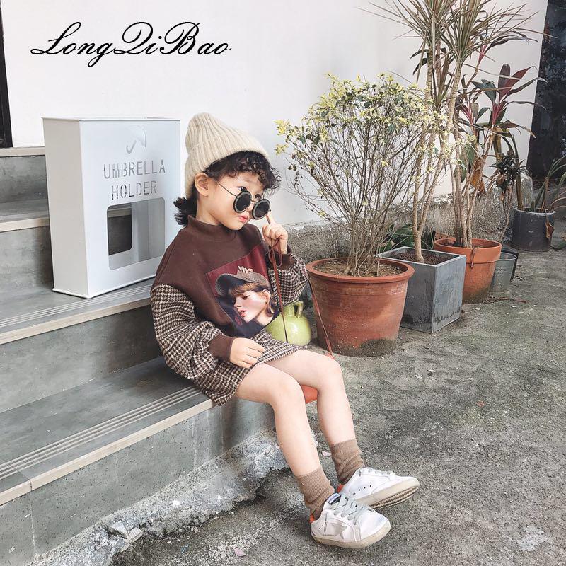 220c787d306d Girls Plus Velvet Yang Wei Sweater Plaid Skirt Set 2018 Autumn And ...