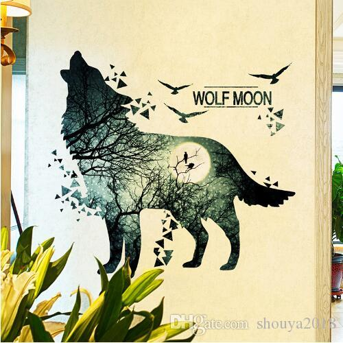 Wolf Moon Wall Stickers PVC Material DIY Forest Tree Branch Birds Wall Poster for Kids Rooms Decoration Mural Art