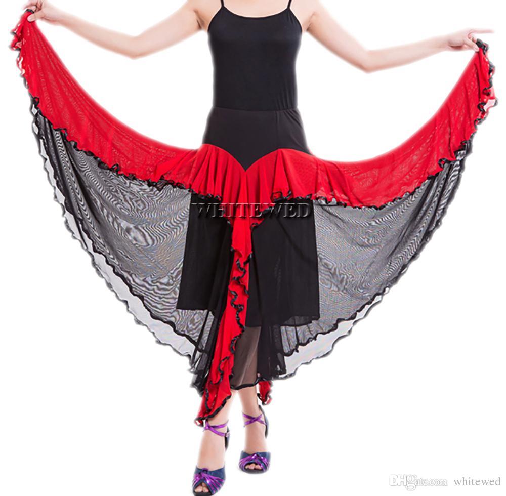 Ruffle Circular Completa Valsa Prática De Dança De Salão De Baile Saia Longo Dois Tons Salão De Baile Flamenco Nacional de Dança Prática Desgaste Saias Trajes