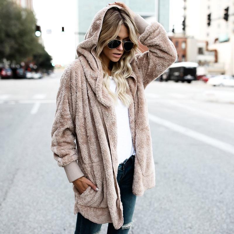 00a8efce3637 Fleece Cardigans Frauen lange Strickjacke Damen Pullover 2018 Winter Herbst  dünne Kapuzen Oversize Pullover Frauen plus Größe ziehen