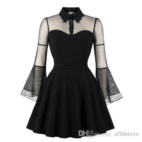 2019 Plus Size Women Queen Black Halloween Vintage Evening Party