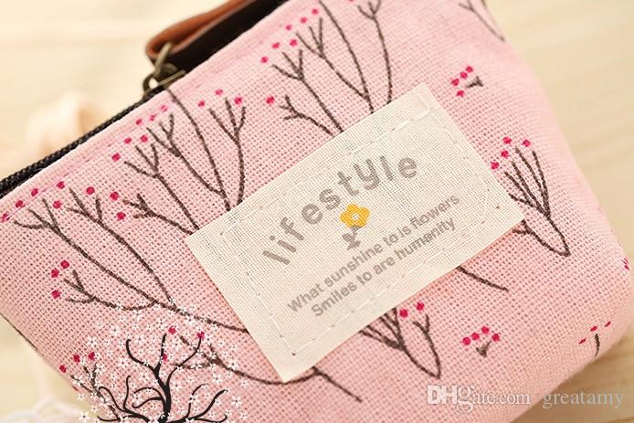 Nova moda crianças foral LIFE STYLE mulheres bonito bolsa de moedas organizador bolsa saco moeda estudante de alta qualidade