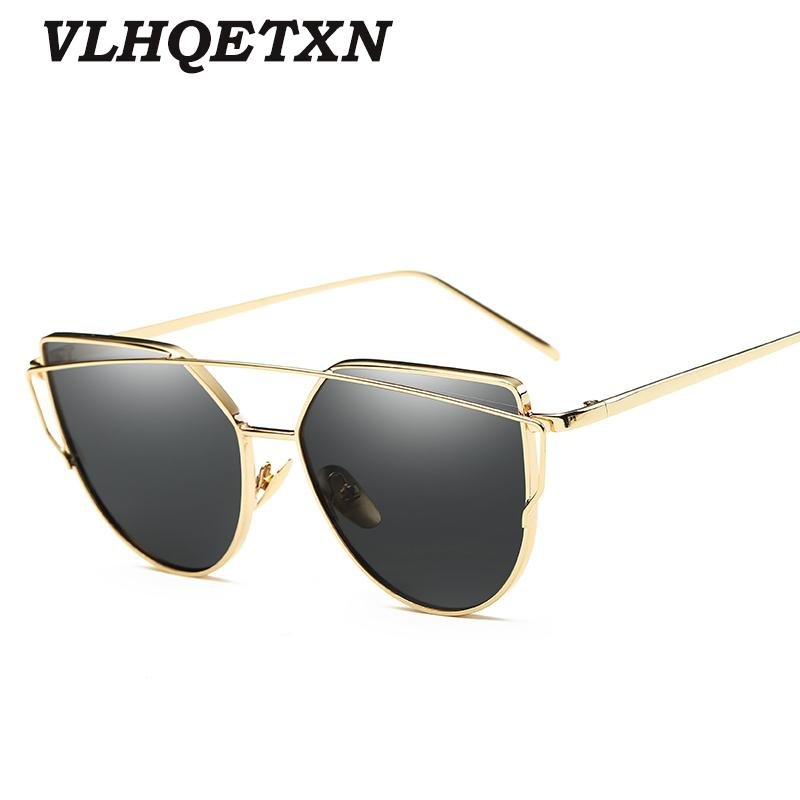 3f2bf52aa Cat Eye Sunglasses Twin Beams Women Mirror Reflective Flat Vintage Brand  Designer Sun Glasses UV400 Eyewear Gafas De Sol Mujer Cheap Sunglasses Mens  ...