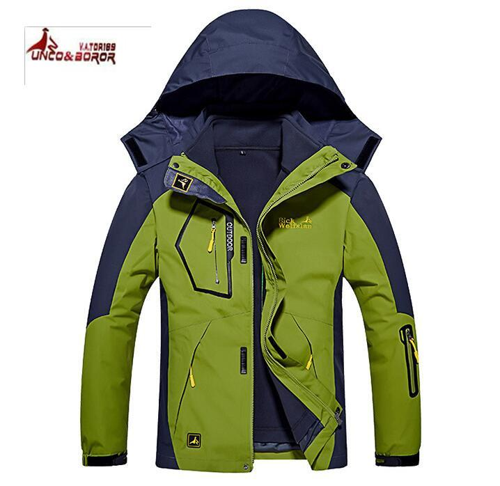 XXL Outdoor Jacket three-in-one couple models two-piece men and women outdoor mountaineering clothing female fruit green