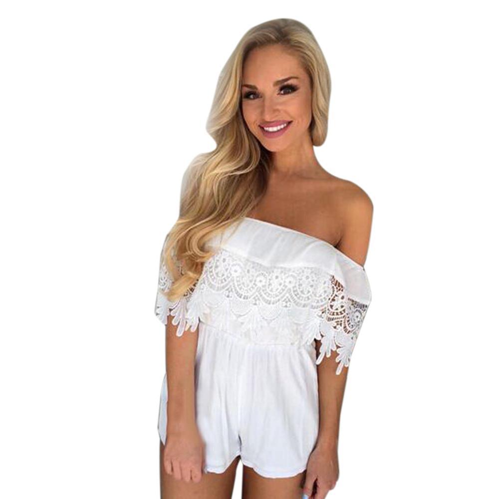 d9641d5595 Fashion Playsuit Women Sexy Off Shoulder Chiffon Lace Playsuit Ladies  Jumpsuit Summer Beach Clothes Combinaison Femme Online with  31.01 Piece on  ...