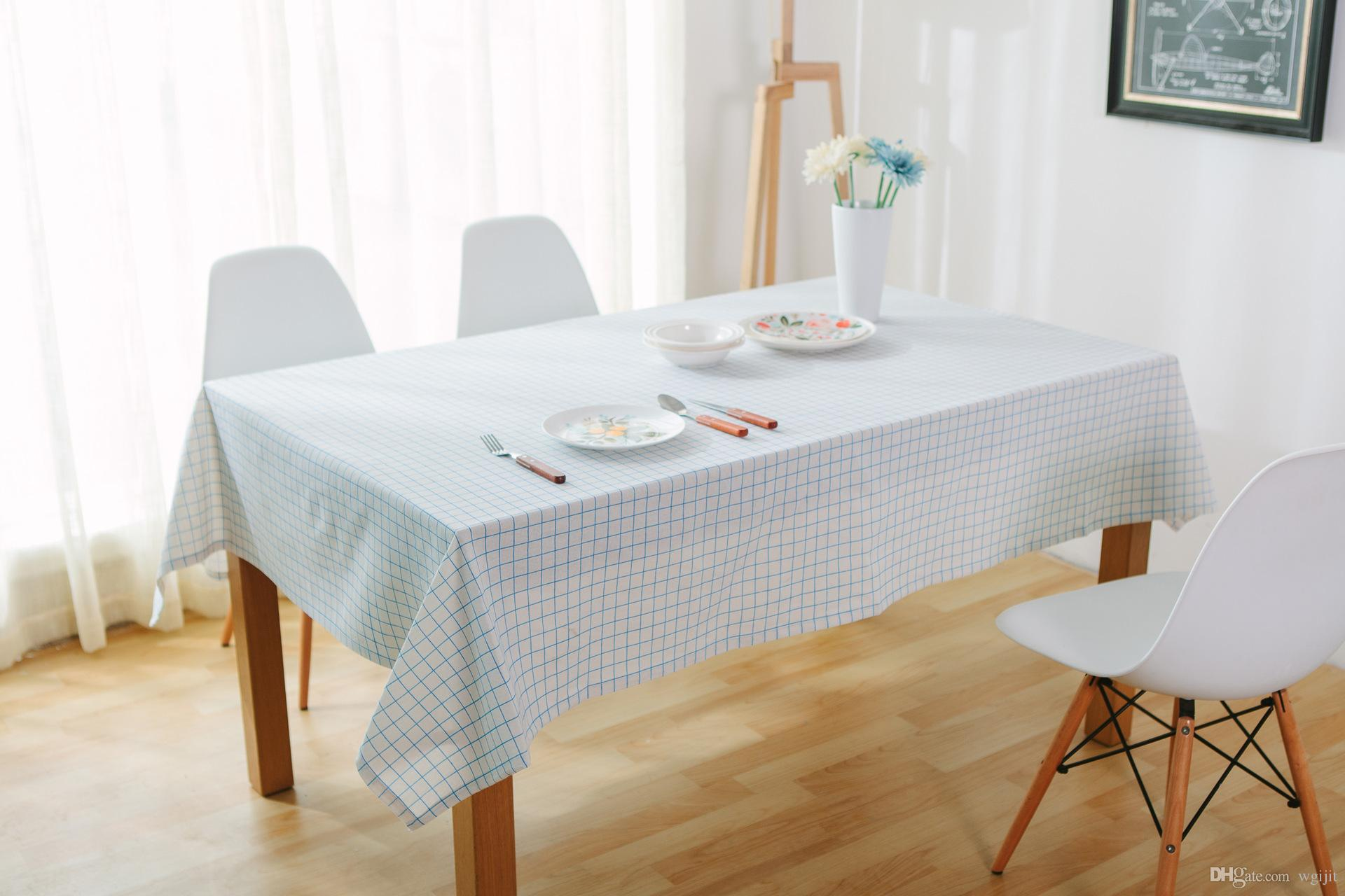 Handmade Fresh Blue White Grid Cotton Linen Tablecloth New Home Kitchen Decor Dinner Table Top Cover Wedding Party Table Runner Spring Tablecloths Round ... & Handmade Fresh Blue White Grid Cotton Linen Tablecloth New Home ...