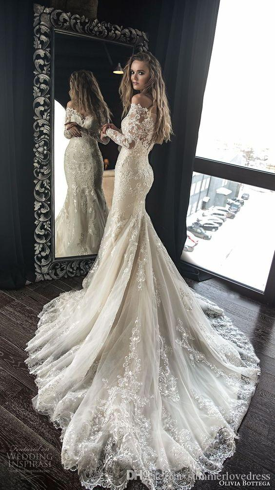 2018 New Elegant Off The Shoulder Long Sleeves Lace Mermaid Wedding Dresses Tulle Applique Court Train Wedding Bridal Gowns With Buttons