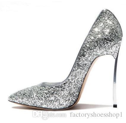 2018 mujeres Sexy Bling Bling lentejuelas Blade talón bomba punta estrecha Slip-on zapatos de vestir de tacón alto zapatos de tacón brillo de metal