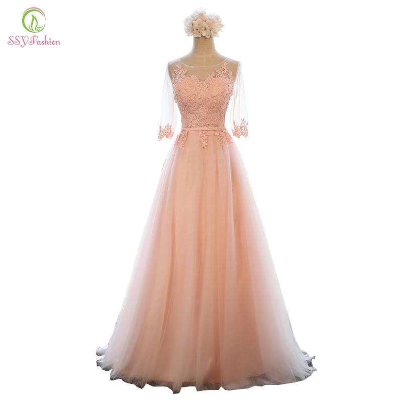 2019 Evening Dress SSYFashion Banquet Sweet Pink Scoop Neck Half Sleeve  Transparent Lace Embroidery A Line Long Prom Formal Dress C18110601 From  Linmei0006 7adcc423f5d4